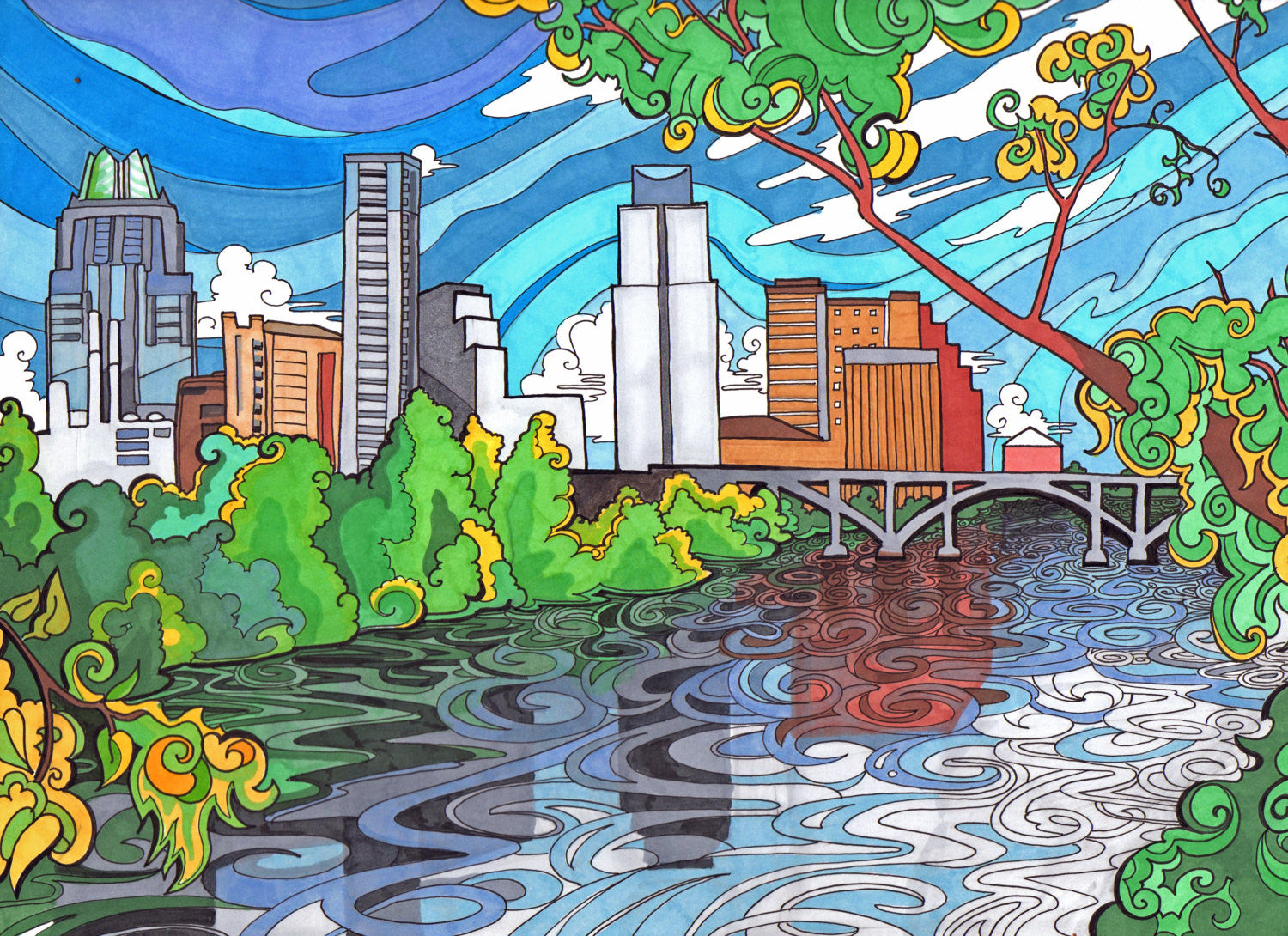 Downtown Austin Print - Borrelli Illustrations