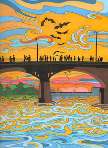 Congress Bridge, Austin Print - Borrelli Illustrations