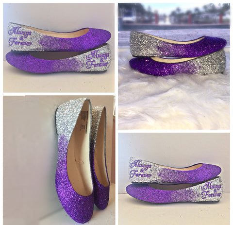 Womens bling glitter purple silver ombre ballet flats wedding shoes