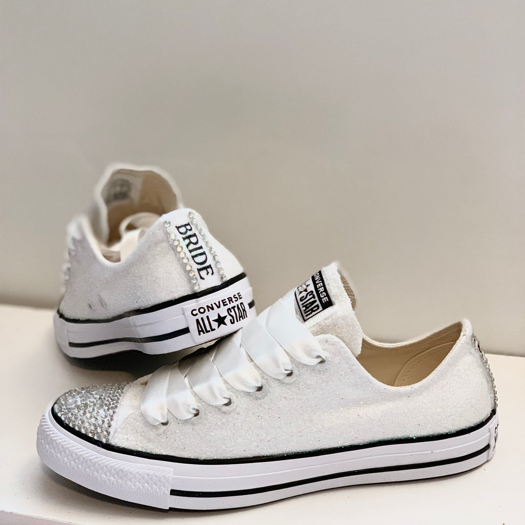 Ivory Glitter Converse Bling shoes