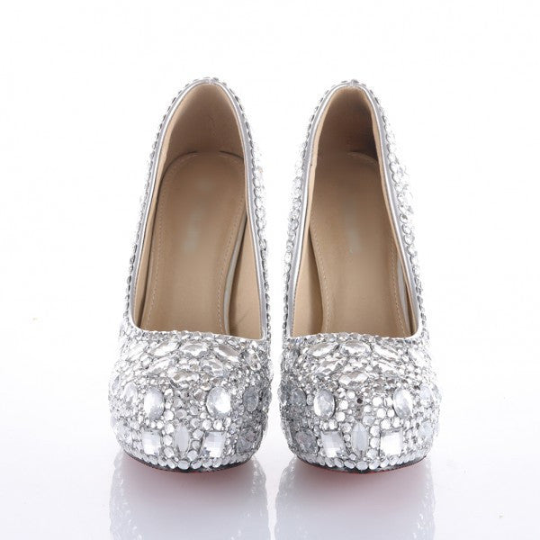 Sparkly Crystal Bling High Low Heels Wedding Bride Bridal Cinderella Prom Shoes - Glitter Shoe Co