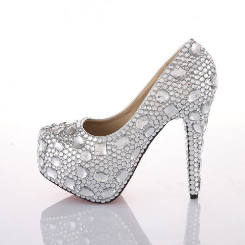 Women's Sparkly Crystal Bling Pumps High Heels Wedding Bride Bridal Cinderella Prom Shoes