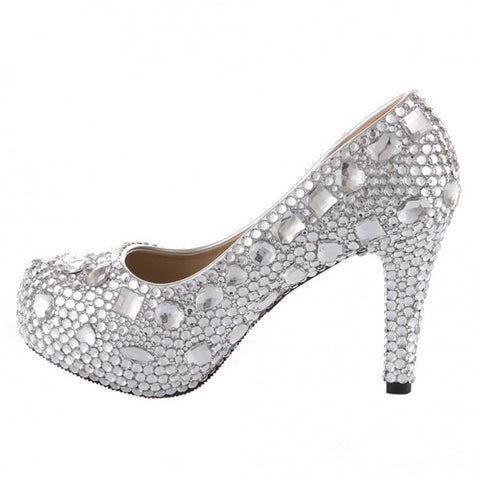 Sparkly Crystal Bling High Low Heels Wedding Bride Bridal Cinderella Prom Shoes