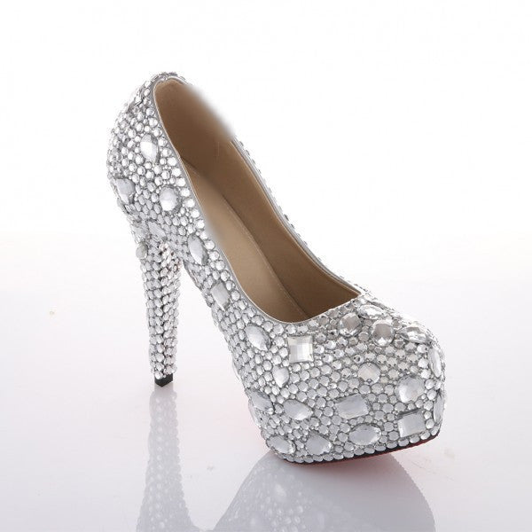 1ce97f27d7d69f ... Sparkly Crystal Bling Pumps High Low Heels Wedding Bride Bridal  Cinderella Prom Shoes - Glitter Shoe ...