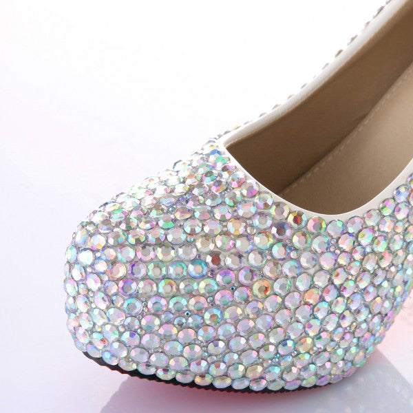 Sparkly Crystal AB Bling High Low Heels Wedding Bride Bridal Cinderella Prom Shoes - Glitter Shoe Co