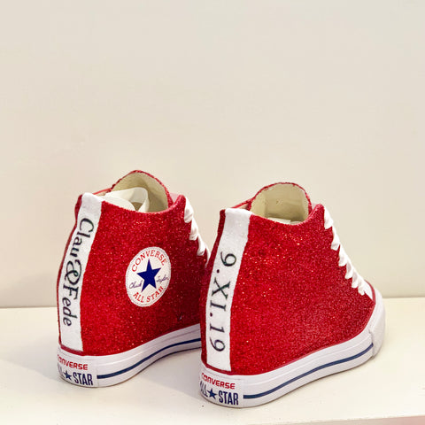 Womens Converse All Star Lux Hidden Wedge Sneaker Heels - Red