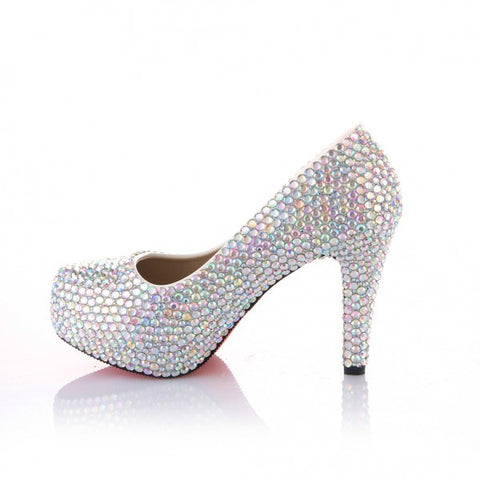 Sparkly Crystal AB Bling High Low Heels Wedding Bride Bridal Cinderella Prom Shoes