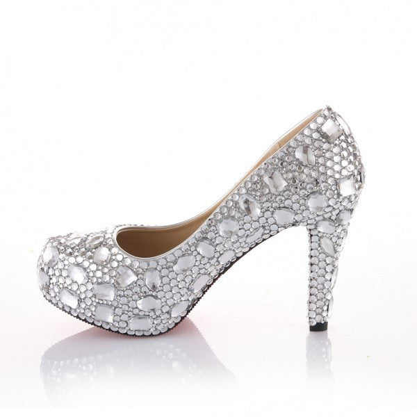 1cba3d8f162b Sparkly Crystal Bling High Low Heels Wedding Bride Bridal Cinderella Prom  Shoes - Glitter Shoe Co