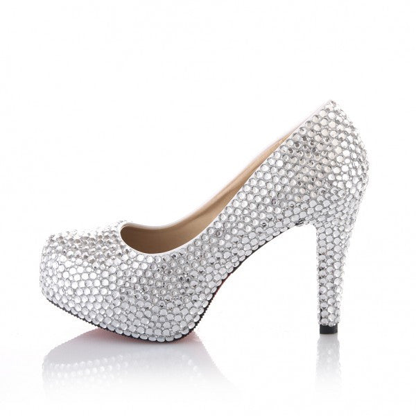 c648eddb583d Sparkly Crystal Bling High Low Heels Wedding Bride Bridal Cinderella Prom  Shoes