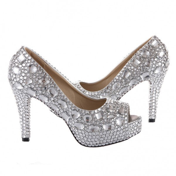 Sparkly Crystal Bling Peep Toe High Low Heels Wedding Bride Bridal Cinderella Prom Shoes