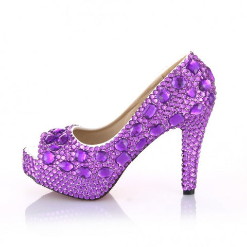 Sparkly Purple Crystal Bling Pumps High Heels Wedding Bride Bridal Prom Shoes