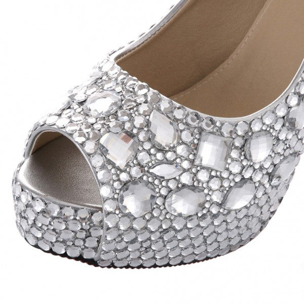Sparkly Crystal Bling Peep Toe High Low Heels Wedding Bride Bridal Cinderella Prom Shoes - Glitter Shoe Co