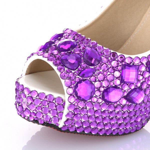 Womens Sparkly Purple Crystal Bling Pumps Peep Toe Heels Wedding Bride Bridal Prom Shoes - Glitter Shoe Co