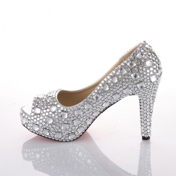 59a3df965343 Sparkly Crystal Bling Peep Toe High Low Heels Wedding Bride Bridal  Cinderella Prom Shoes