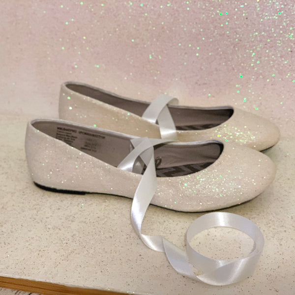 Sparkly white or ivory Glitter Ballet Flats shoes ribbon bow ballerina bride wedding