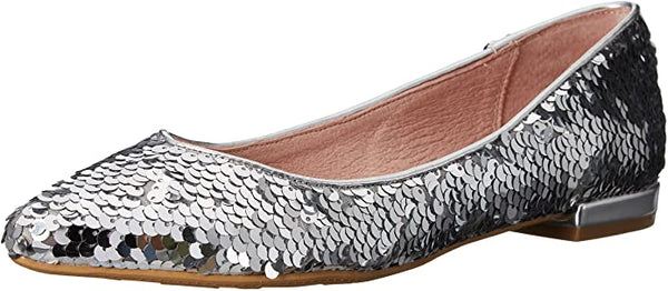 WOMENS SILVER SEQUIN FLAT LAST PAIR SALE Size 6.5