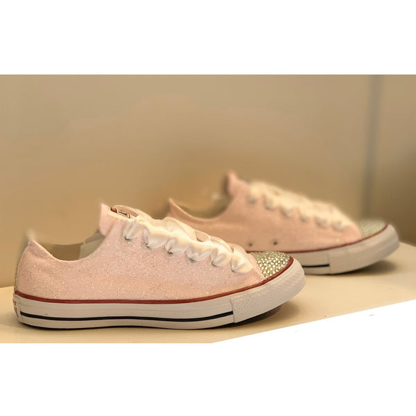 Women's Sparkly Glitter Converse All Star Sneakers - Light Pink Sweet 16