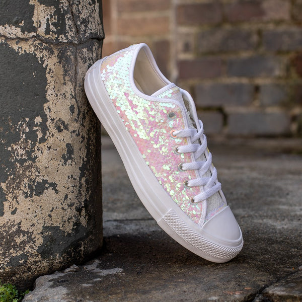 Womens Converse Chuck Taylor Lo Iridescent Sequin Sparkle Sneaker Wedding Shoes