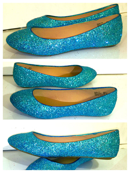 Women's Sparkly Turquoise Blue Glitter BALLET Flats bride wedding shoes prom - Glitter Shoe Co