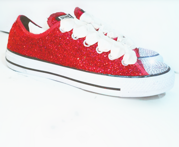 Womens Glitter & Crystals Converse All Stars Red - Glitter Shoe Co