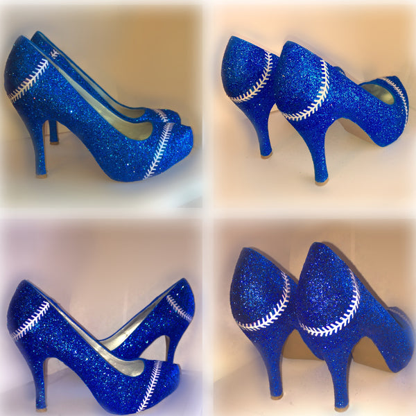Women's Sparkly Royal Blue Glitter BASEBALL stitch high & low Heels Stiletto shoes - Glitter Shoe Co