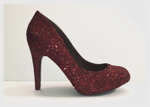 Women's Burgundy maroon sparkly glitter heels high low heels wedding bride bridal shoes