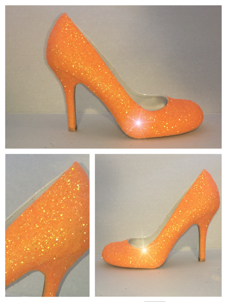 Sparkly Orange Tangerine Glitter Closed Toe Pumps high & low Heels Stiletto wedding bride shoes - Glitter Shoe Co