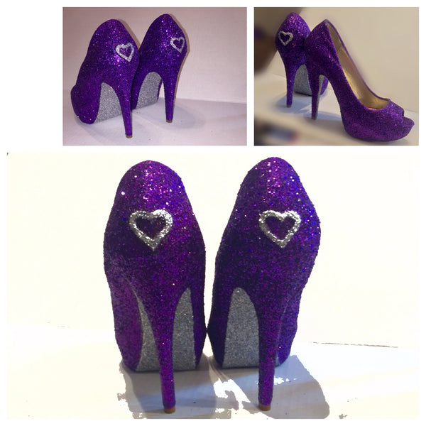 Women's Sparkly Purple Silver Glitter Peep toe Pumps Heels Stiletto wedding bride shoes
