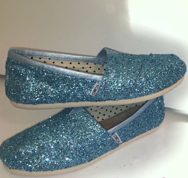 Womens Sparkly Glitter Toms Flats shoes bridal Bride Wedding Comfortable Cinderella Blue fairytale - Glitter Shoe Co