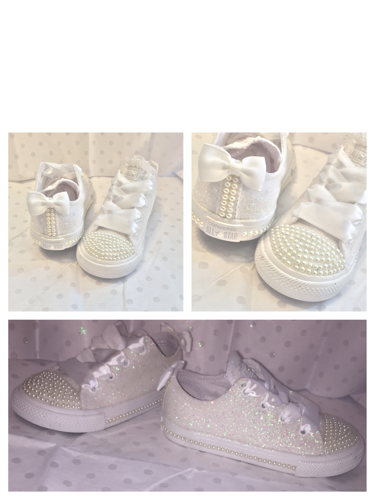 f8c0ae503991 ... Kids Sparkly White Ivory Glitter Converse All Star Pearls Flower GiRL  wedding bridal Shoes - Glitter ...