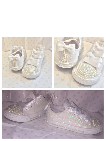 Kids Sparkly White Ivory Glitter Converse All Star Pearls Flower GiRL wedding bridal Shoes - Glitter Shoe Co