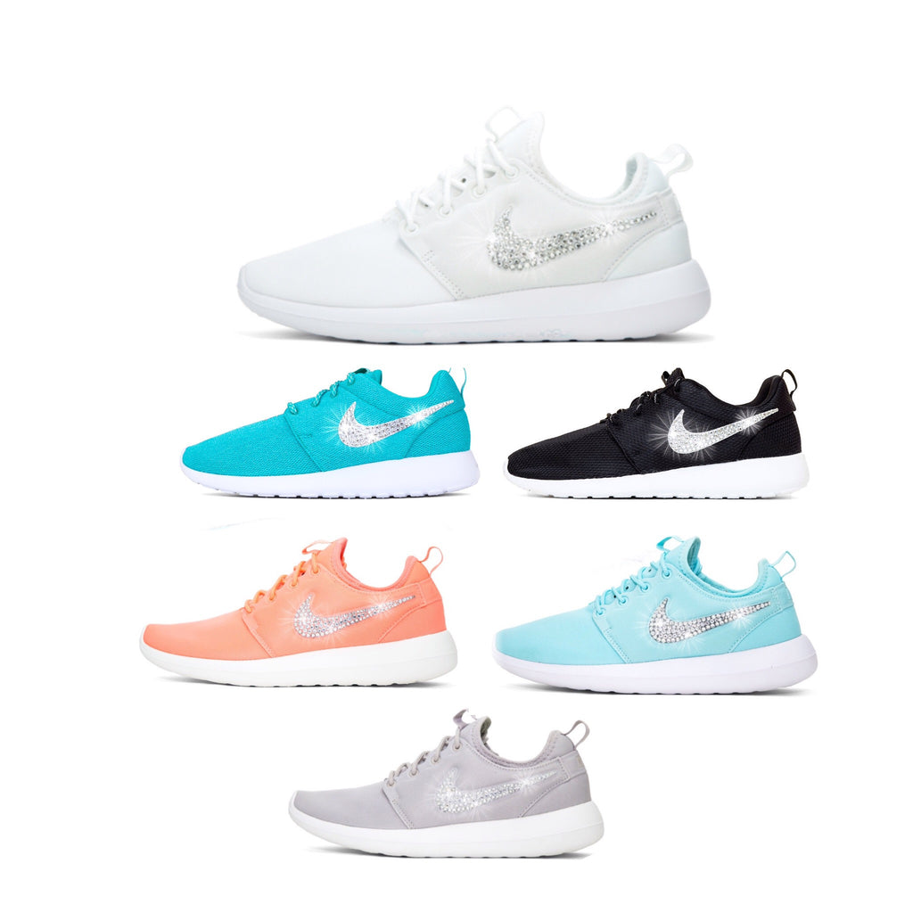 86ff55249 ... Womens Nike Shoes Swarovski Crystals Roshe Two Blue   White - Glitter  Shoe Co