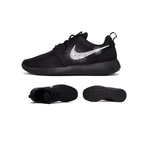 Womens Nike Shoes Swarovski Crystals Roshe One - Triple Black / Black - Glitter Shoe Co