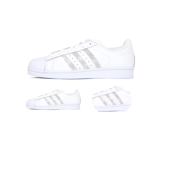 Womens Adidas Superstar Swarovski Crystals Bling Stripes White Wedding Bride Shoes - Glitter Shoe Co