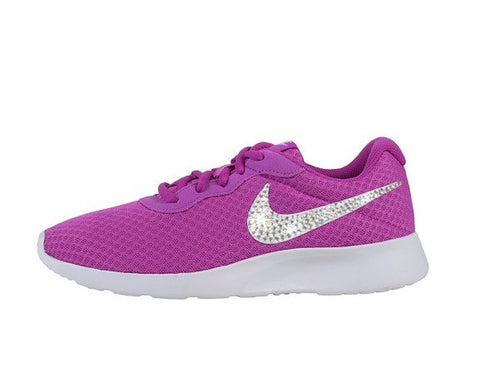 Womens Nike Shoes Swarovski Crystals Tanjun SE - Purple / White - Glitter Shoe Co