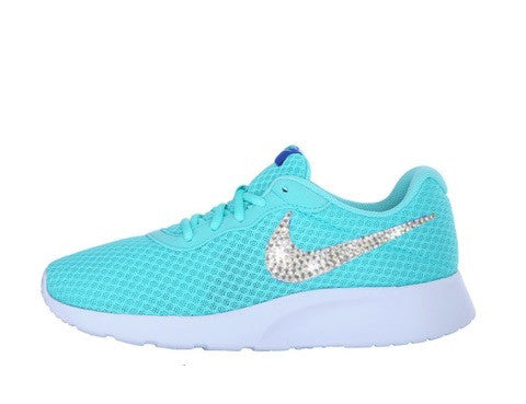 d4e9297cc804 ... Bling Sneakers. Womens Nike Shoes Swarovski Crystals Tanjun SE - blue    White - Glitter Shoe Co