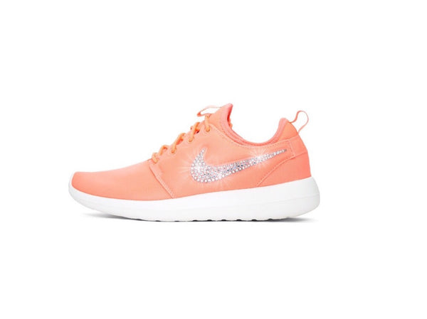 Womens Nike Shoes Swarovski Crystals Roshe Two - atomic Pink / White - Glitter Shoe Co