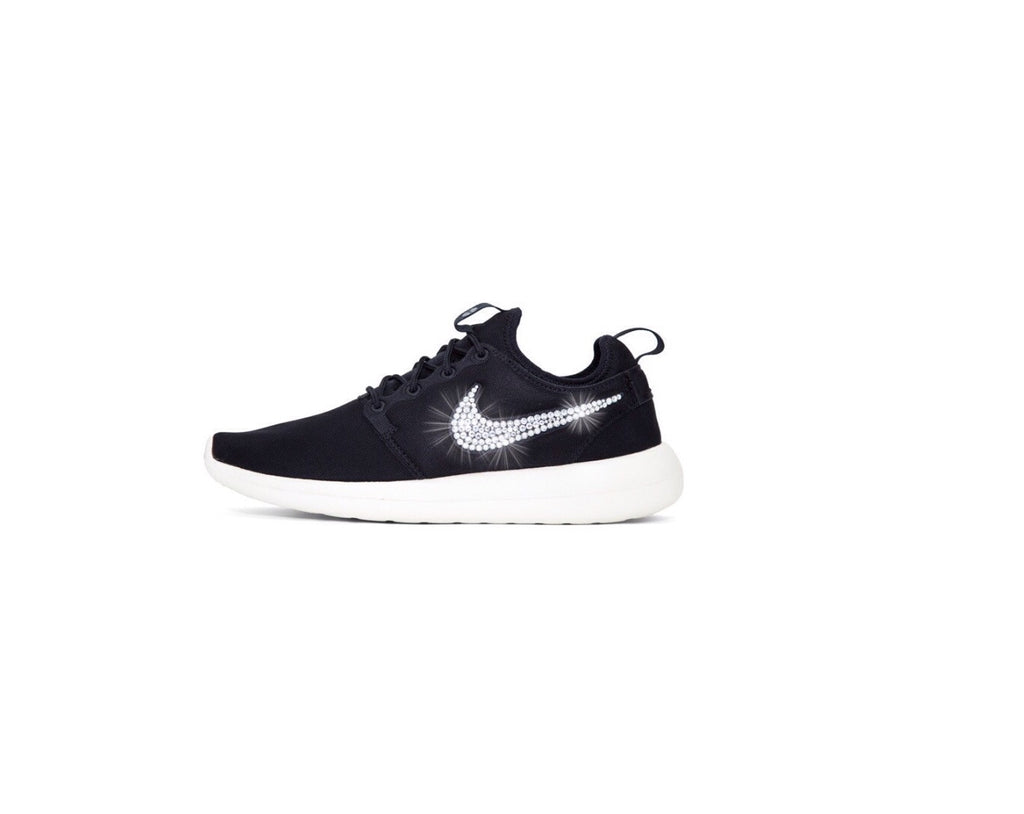 ... Womens Nike Shoes Swarovski Crystals Roshe Two - Black   White -  Glitter Shoe Co 548911b3ed