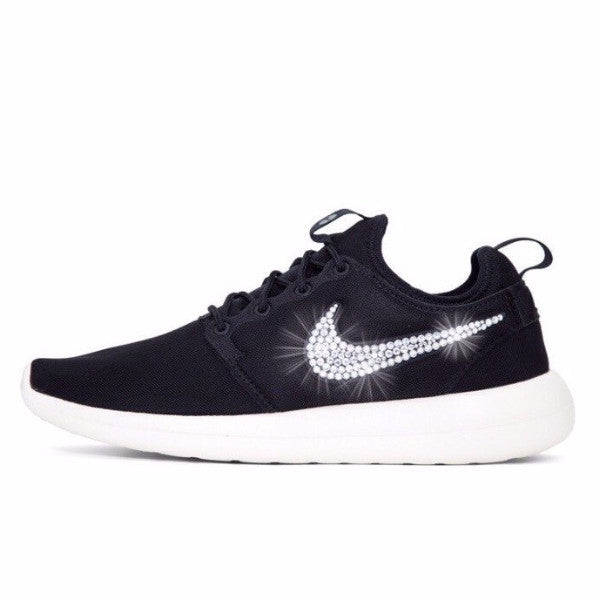 Womens Nike Shoes Swarovski Crystals Roshe Two - Black / White - Glitter Shoe Co