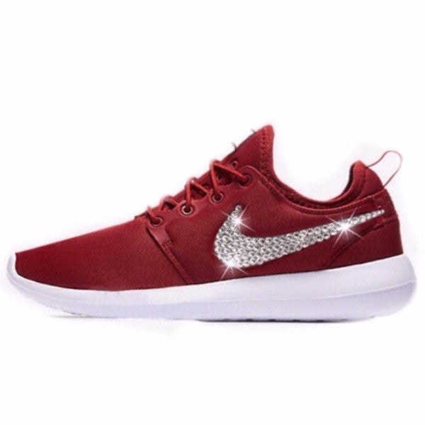 8f81b2664 Women Nike Shoes Swarovski Crystals Roshe Two - Maroon Burgundy Dark  Cayenne   White - Glitter