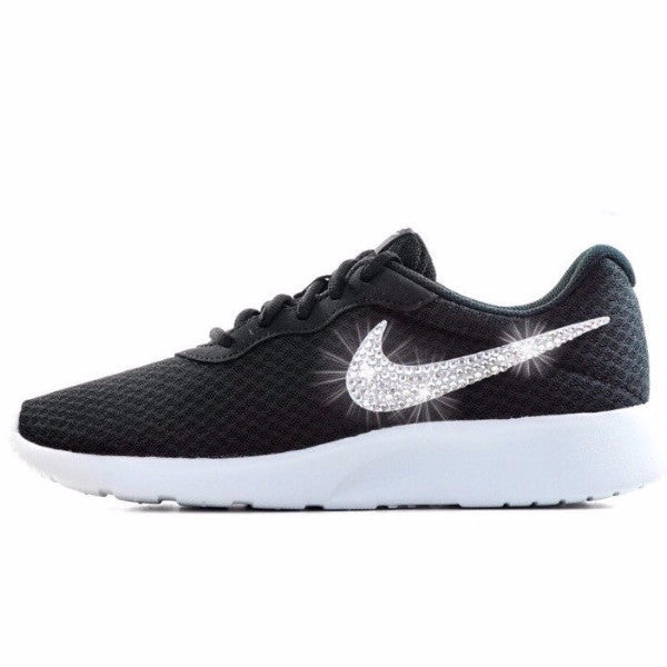 Womens Nike Shoes Swarovski Crystals Tanjun SE - Black / White - Glitter Shoe Co