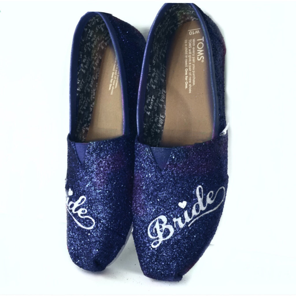 Womens Sparkly Glitter Toms Flats shoes bridal Bride Wedding Comfortable Navy Blue - Glitter Shoe Co