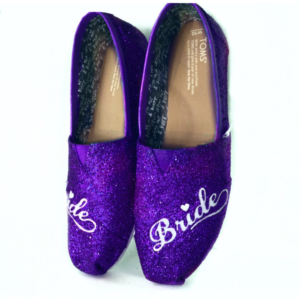 Women's classic slip on Glitter Toms Royal Purple Wedding Bride Shoes