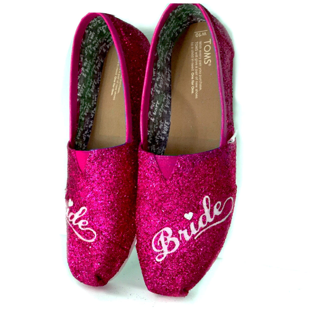 fuchsia wedding shoes womens sparkly pink fuchsia glitter toms wedding 4399