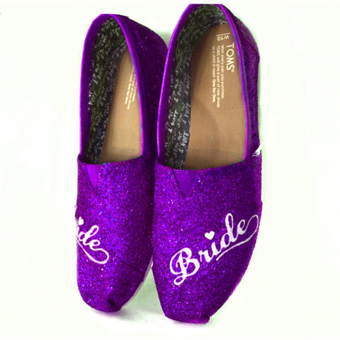 Womens Sparkly Glitter Toms Shoes Purple Plum Regency Lapis Eggplant wedding bride bridal - Glitter Shoe Co
