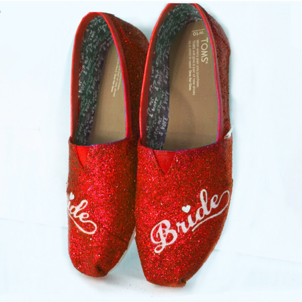 Women's classic slip on Glitter Toms Red Wedding Bride Shoes