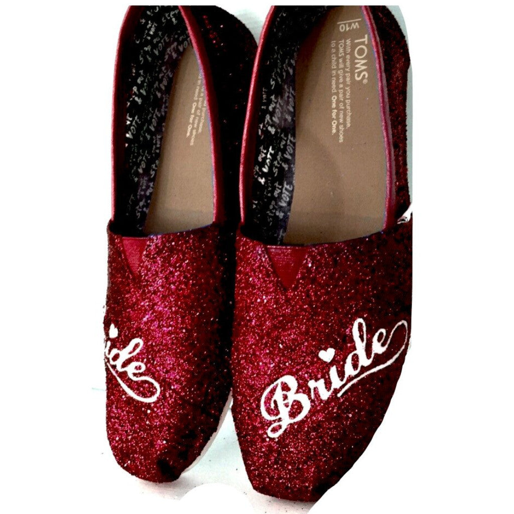 Womens Sparkly Glitter Toms Flats shoes bridal Bride Wedding Comfortable Burgundy Maroon Red Wine - Glitter Shoe Co