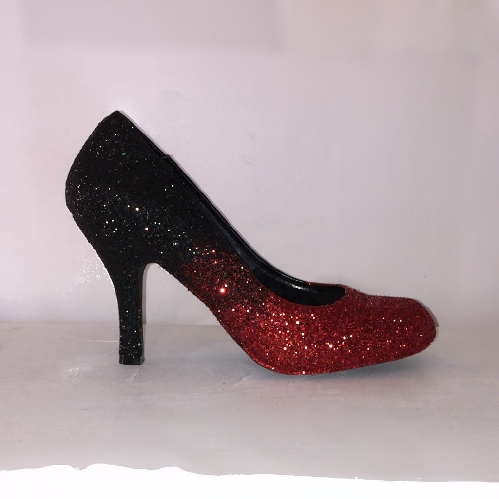 Sparkly Black Red ombre Glitter High Low Heels wedding bride Pumps shoes