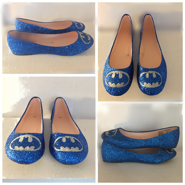 SuperHero royal blue Glitter ballet flats shoes Batman wedding bridal