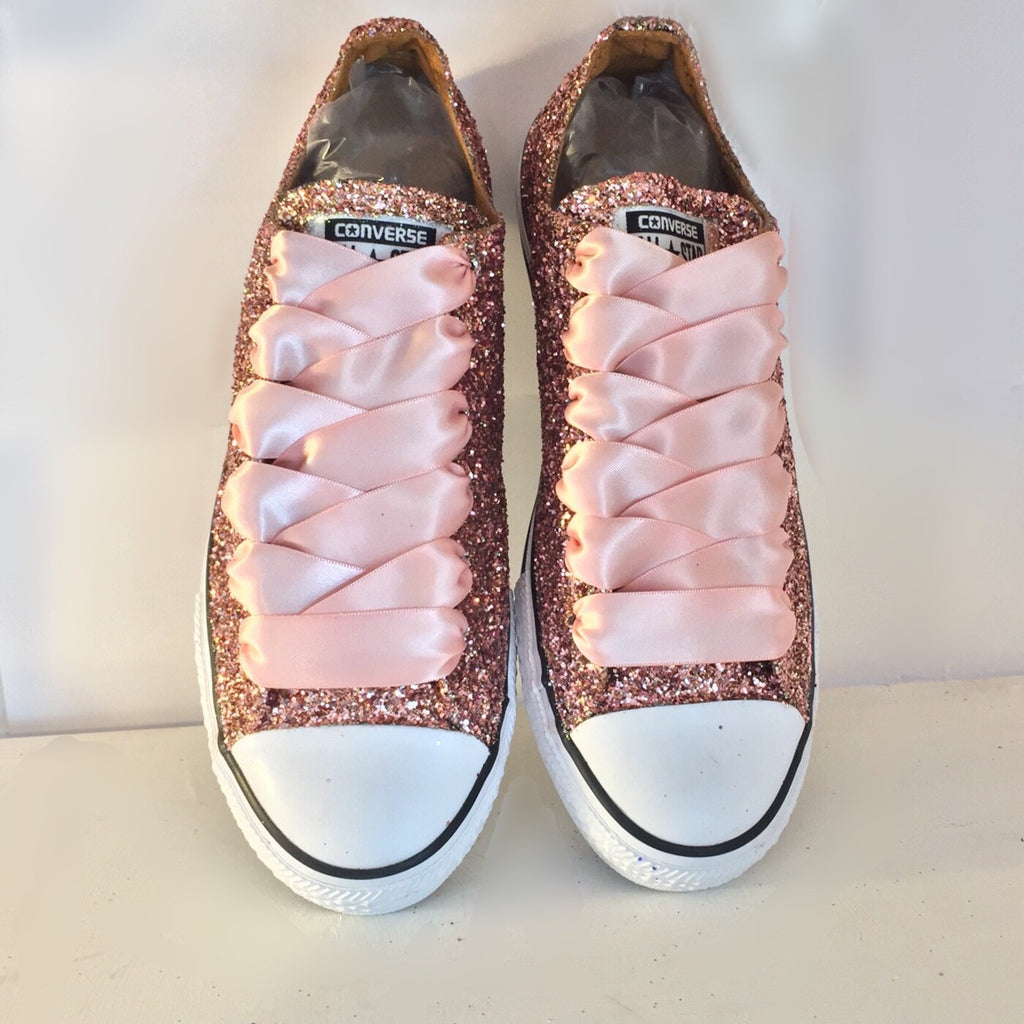 6318fb2e76c0 ... Women s Sparkly Rose Gold Pink Glitter Converse All Stars Bride Wedding  Shoes sneakers ...